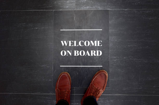 Welcome on board sign on floor Welcome on board sign on floor. aboard stock pictures, royalty-free photos & images