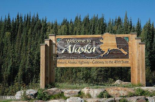 Alaska welcomes visitors on the Alaska Highway at the Alaskan border,Alaska,USA.