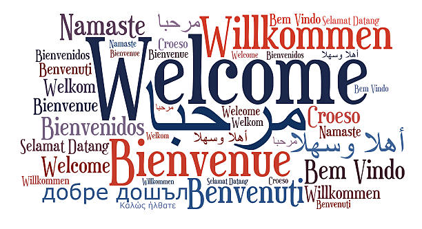 Welcome phrase in different languages Welcome phrase in different languages. Words cloud concept. Multilingual in English, Arabic, Danish, French, Spanish, German, Greek, Hebrew, Italian, Russian, Welsh, Swedish, Polish, Malay, Indonesian, Zulu. This illustration is JPEG only. welcome sign stock pictures, royalty-free photos & images
