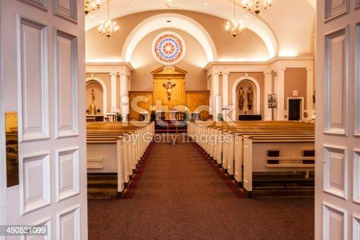 Empty church awaiting worshippers