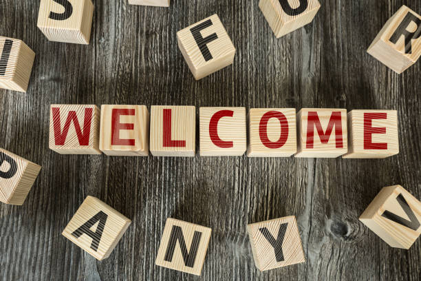 Welcome Welcome toy block aboard stock pictures, royalty-free photos & images