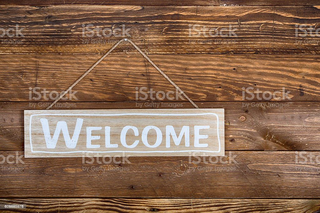 Welcome poster stock photo