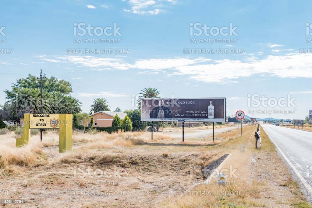 Welcome sign and billboard with B1-road passing through Otavi stock photo