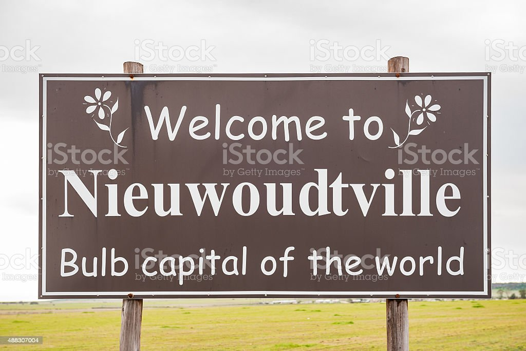 Welcome sign at Niewoudtville stock photo