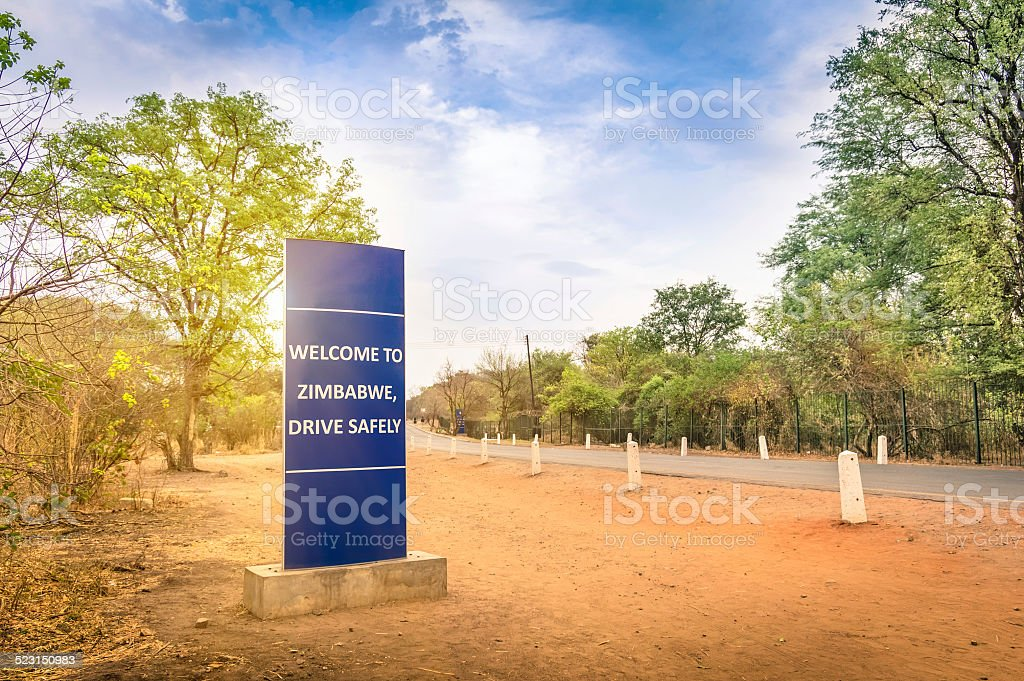 Welcome sign at Zimbabwe border with Zambia near Victoria Falls stock photo
