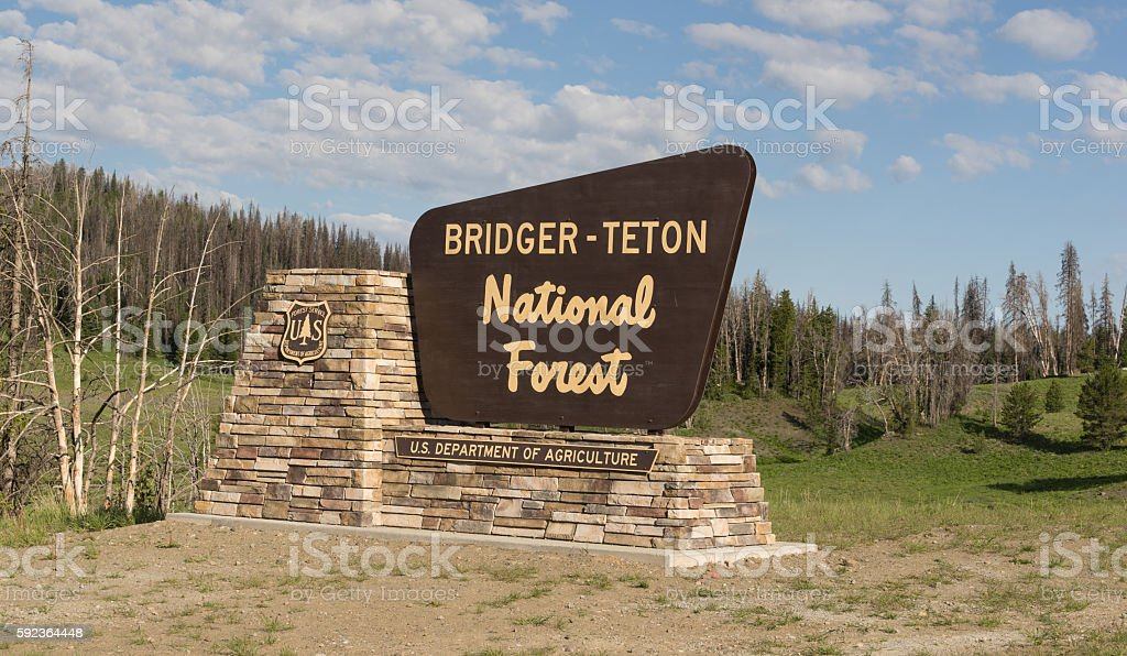 Welcome Sign Bridger-Teton National Forest US Department of Agriculture stock photo