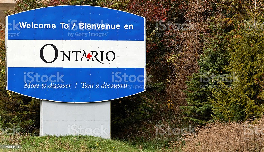 Welcome sign for Ontario Canada stock photo