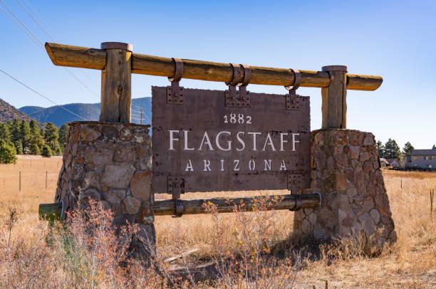 Welcome Sign in Flagstaff, Arizona stock photo