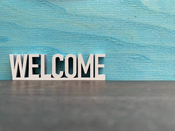 Welcome sign on blue background Welcome sign on blue background welcome sign stock pictures, royalty-free photos & images