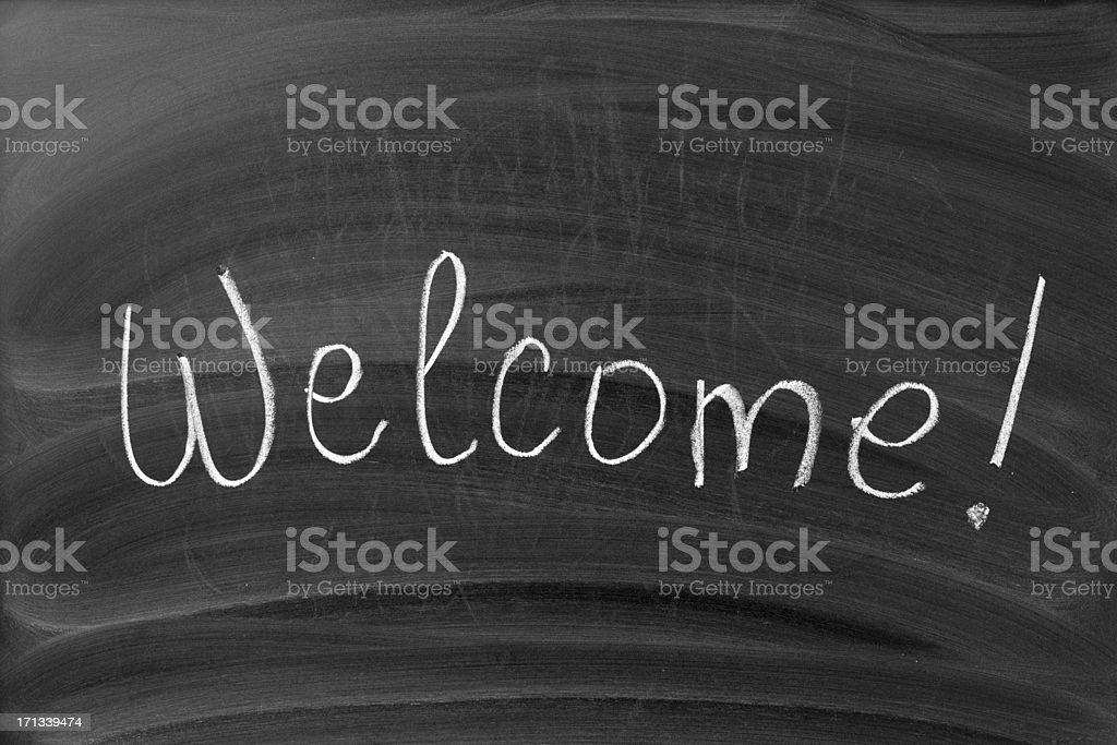 Welcome sign on the blackboard royalty-free stock photo