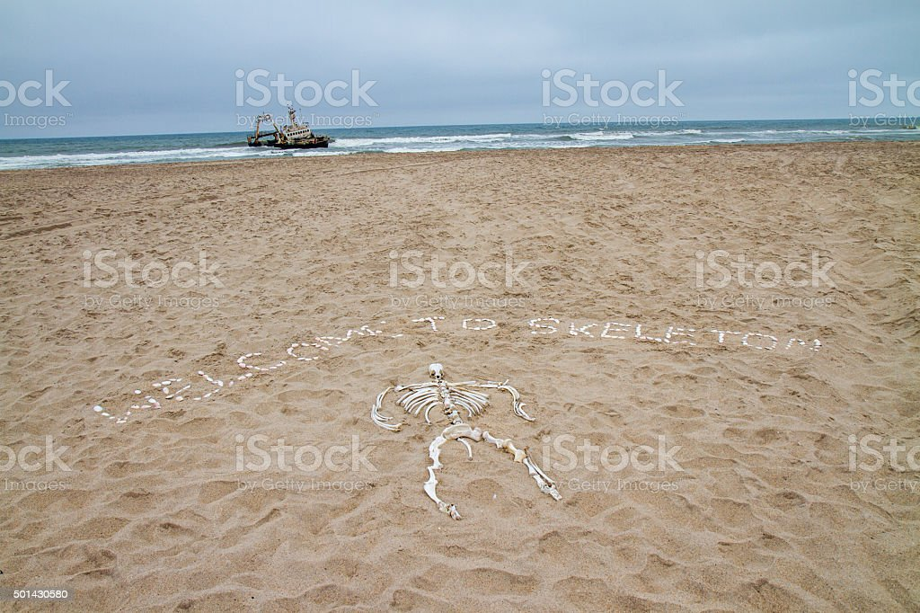 Welcome Sign On The Skeleton Coast stock photo