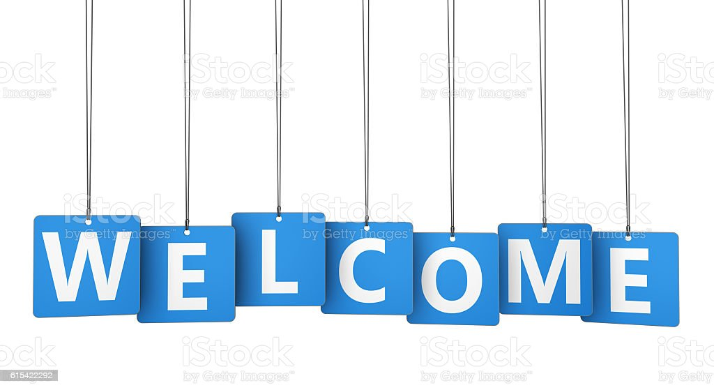 Welcome Sign Paper Tags stock photo