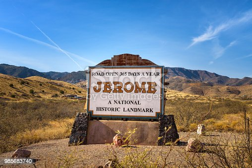 Welcome sign to the small historic mountain town of Jerome in Arizona.
