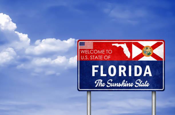 Willkommensschild im US-Bundesstaat Florida in Amerika – Foto