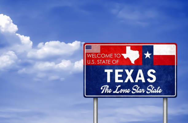 Willkommensschild im US-Bundesstaat Texas in Amerika – Foto