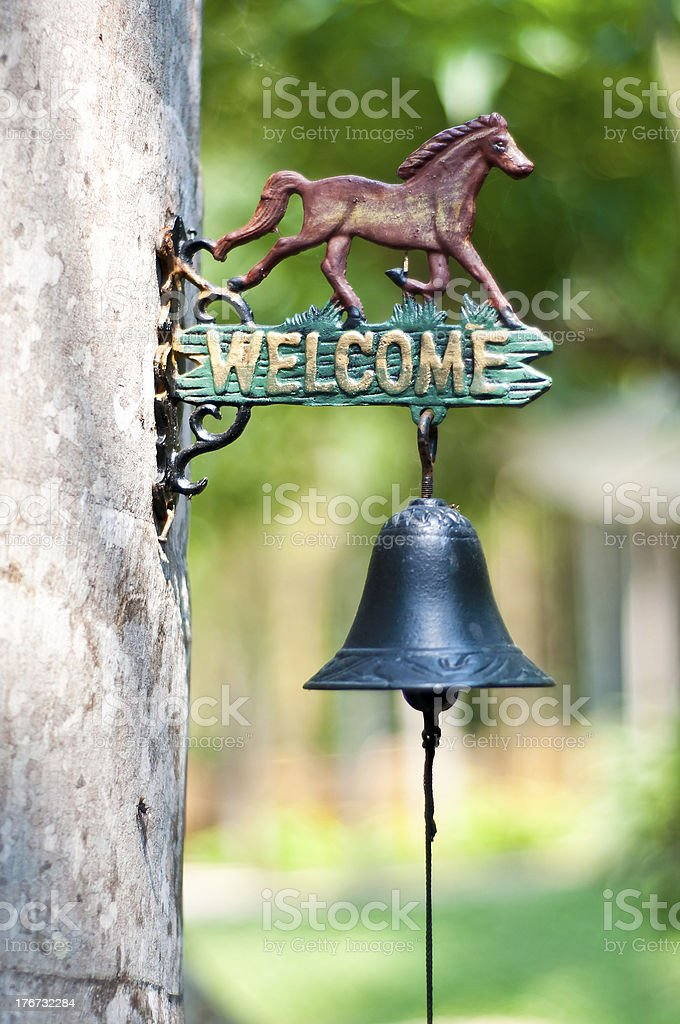 Welcome sign with ring bell. stock photo