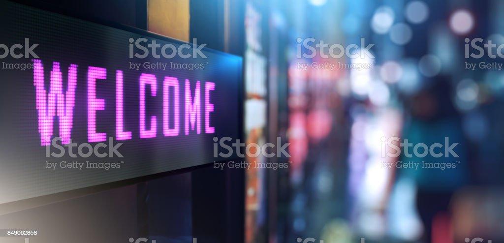 Sinalização de boas-vindas - foto de acervo