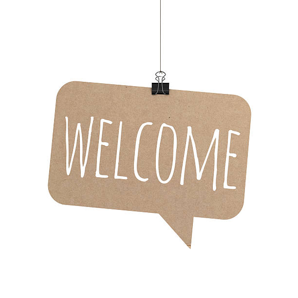 welcome speech bubble hanging on a string - greeting stock pictures, royalty-free photos & images