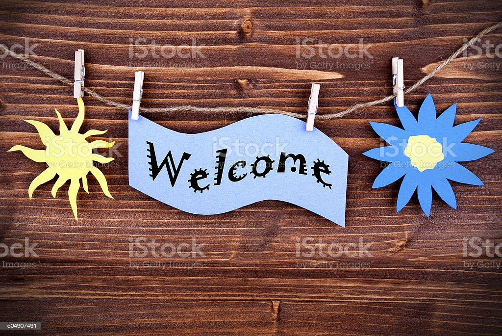 Welcome Tag in Purple stock photo