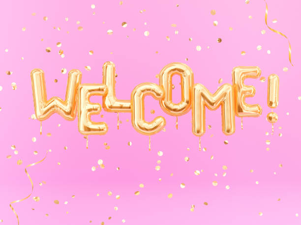 Welcome text sign letters with golden confetti, pink and gold banner Welcome text sign letters with golden confetti, pink and gold banner. 3d rendering welcome sign stock pictures, royalty-free photos & images