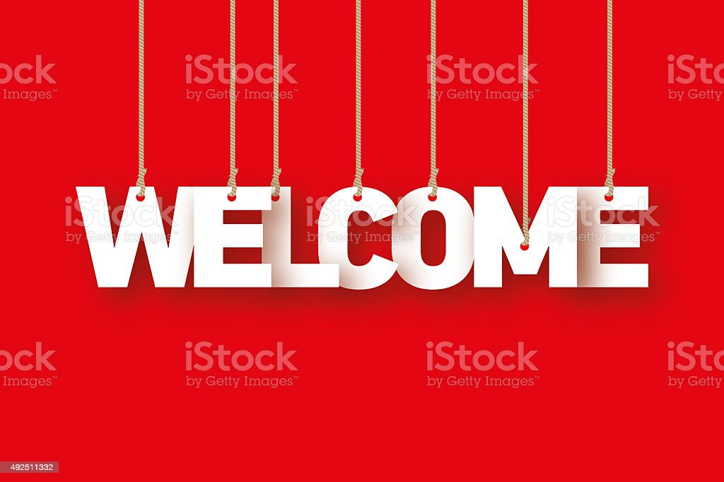 Welcome, the word of the letters hanging on the rope stock photo