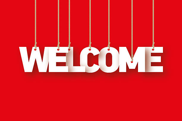 welcome, the word of the letters hanging on the rope - welcome stock photos and pictures