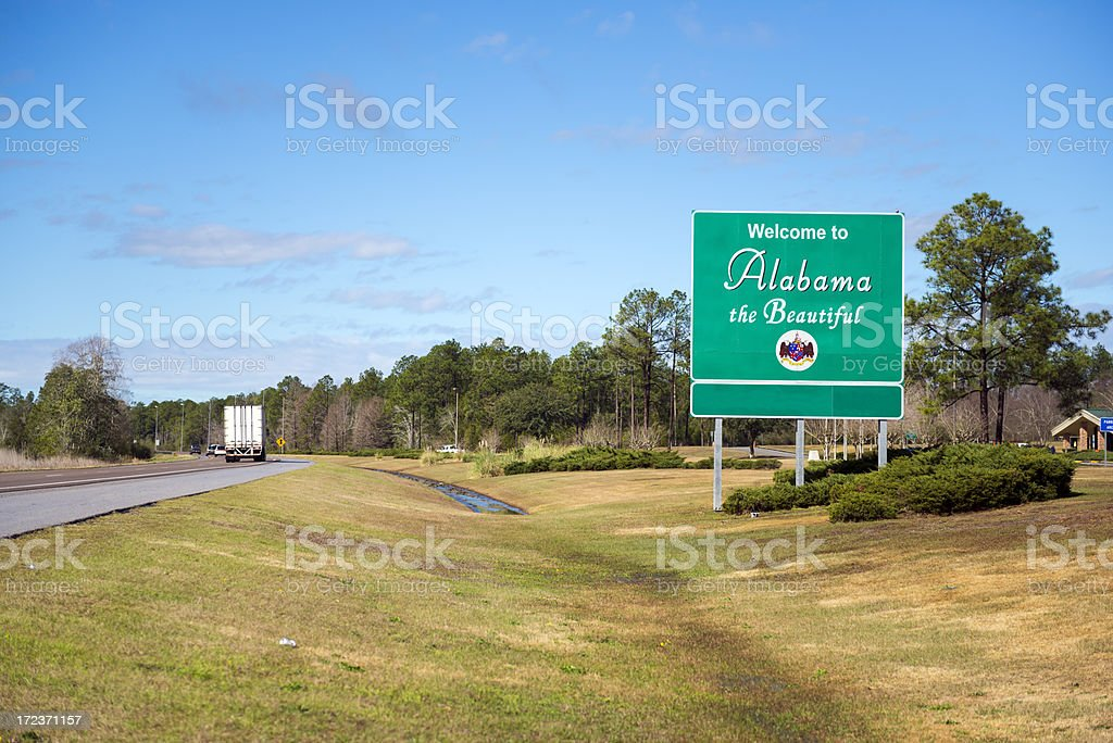 Welcome to Alabama sign on I-10 stock photo