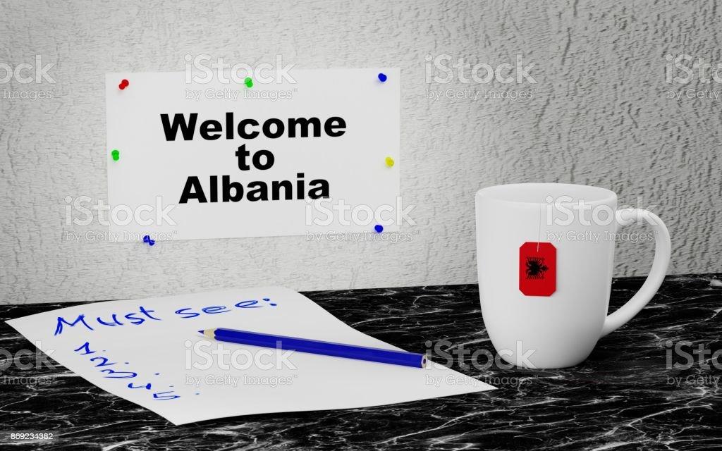 Welcome to Albania stock photo
