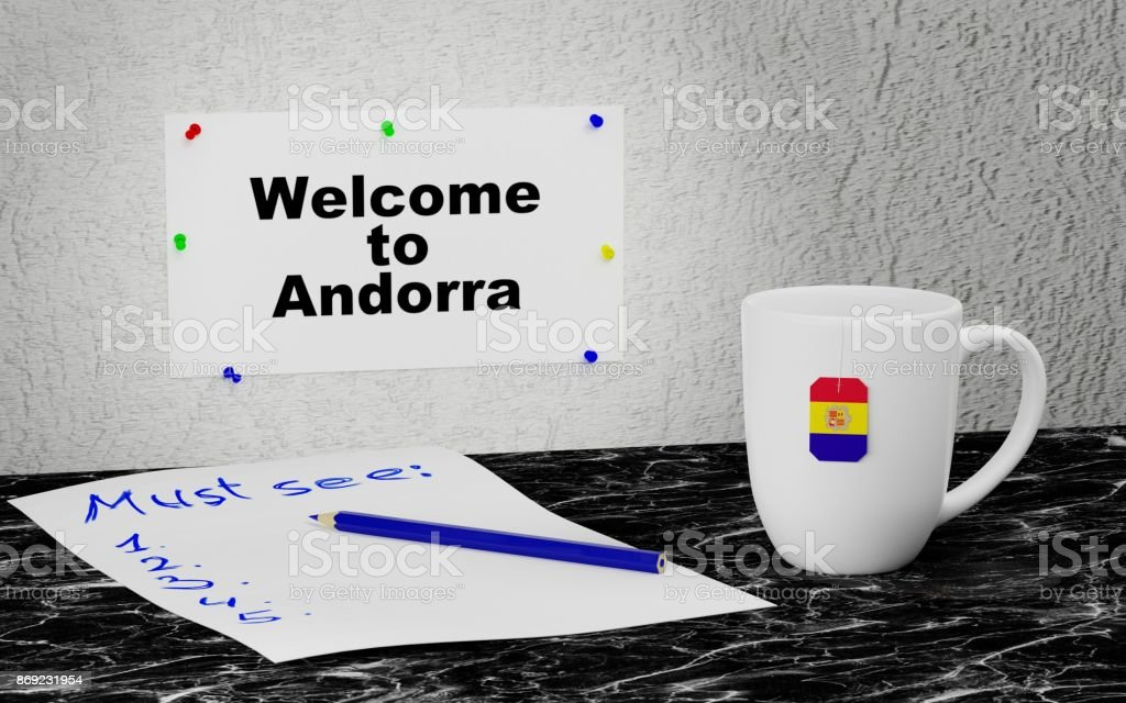 Welcome to Andorra stock photo