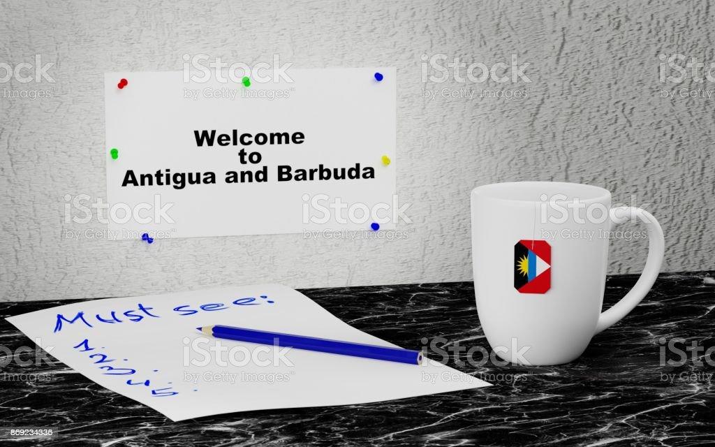 Welcome to Antigua and Barbuda stock photo