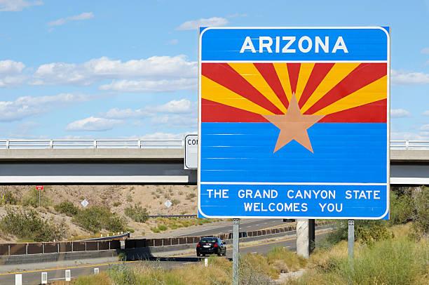 welcome to arizona - arizona highway signs stockfoto's en -beelden