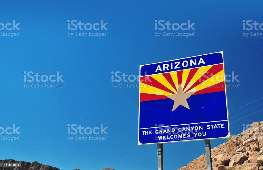 USA: welcome to Arizona sign stock photo