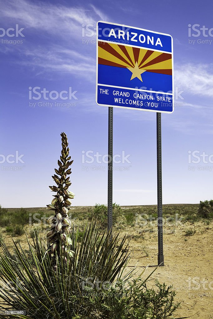 welcome to Arizona sign state line royalty-free stock photo