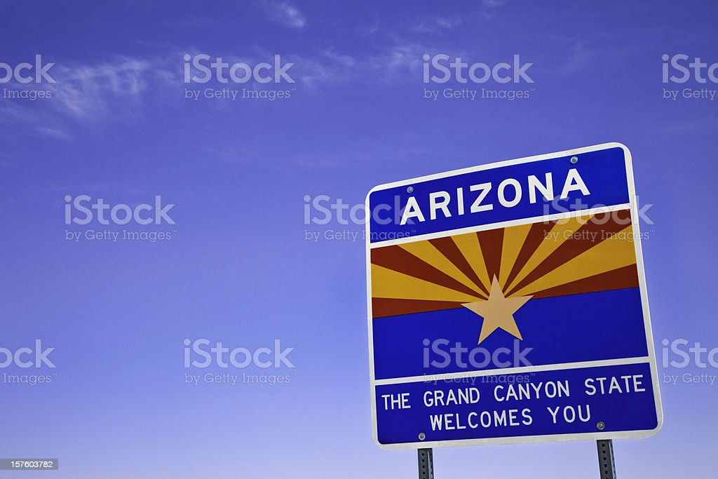 welcome to Arizona sign state line stock photo