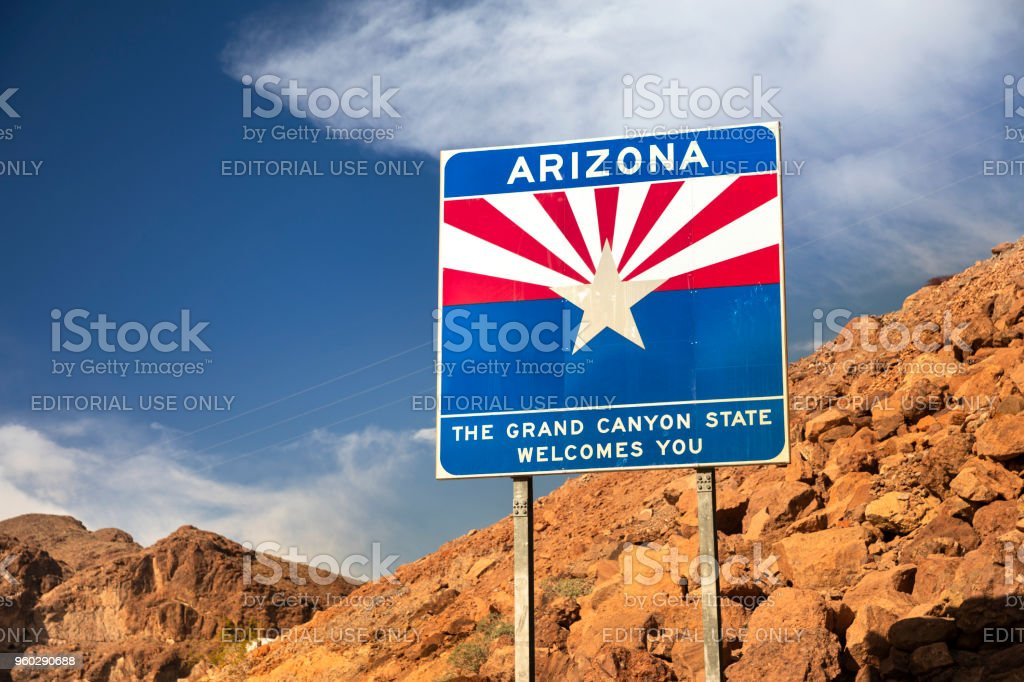 Welcome to Arizona state freeway entrance sign by the Hoover Dam stock photo