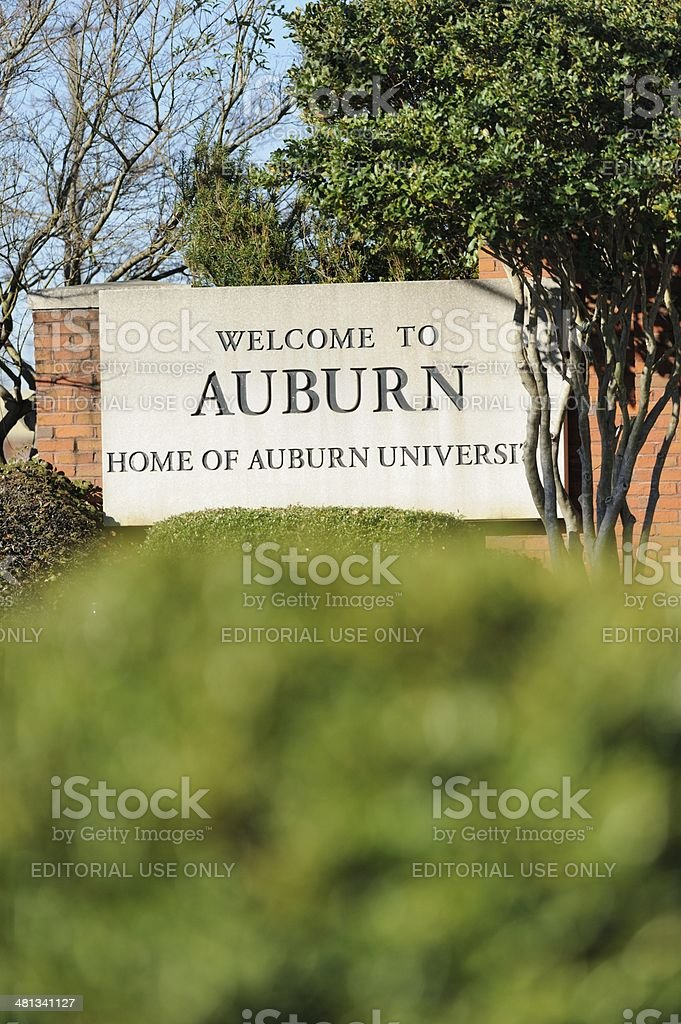 Welcome to Auburn sign stock photo