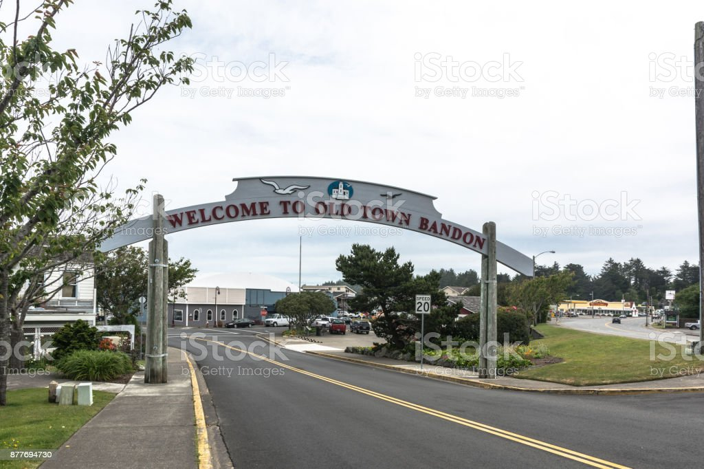 Welcome to Bandon sign, Oregon stock photo
