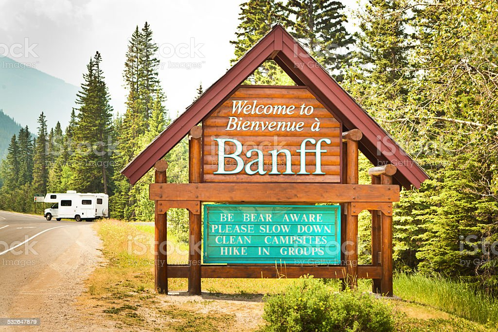 Welcome to Banff Entrance Sign National Park in Canada stock photo