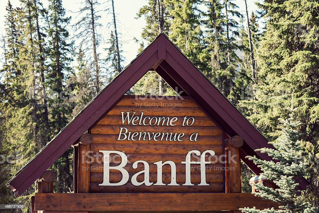 Welcome to Banff National Park stock photo