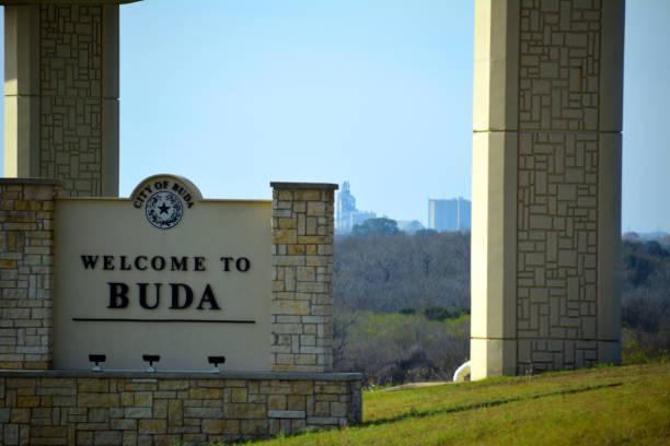Welcome to Buda Sign stock photo