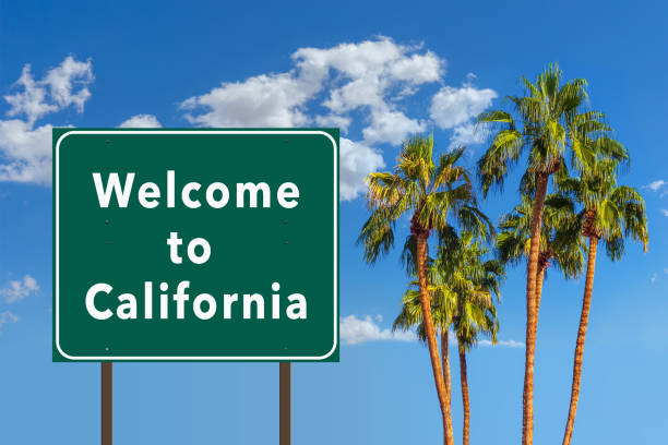 Welcome to California road sign with palm trees stock photo