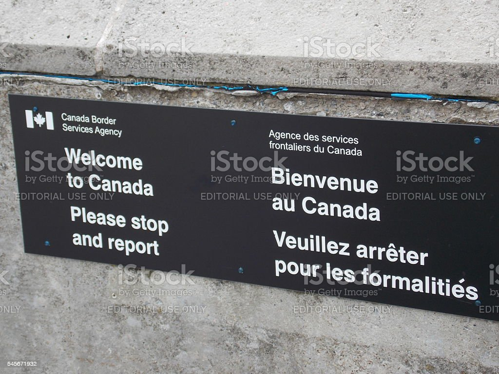 Welcome to Canada Border Security Sign stock photo