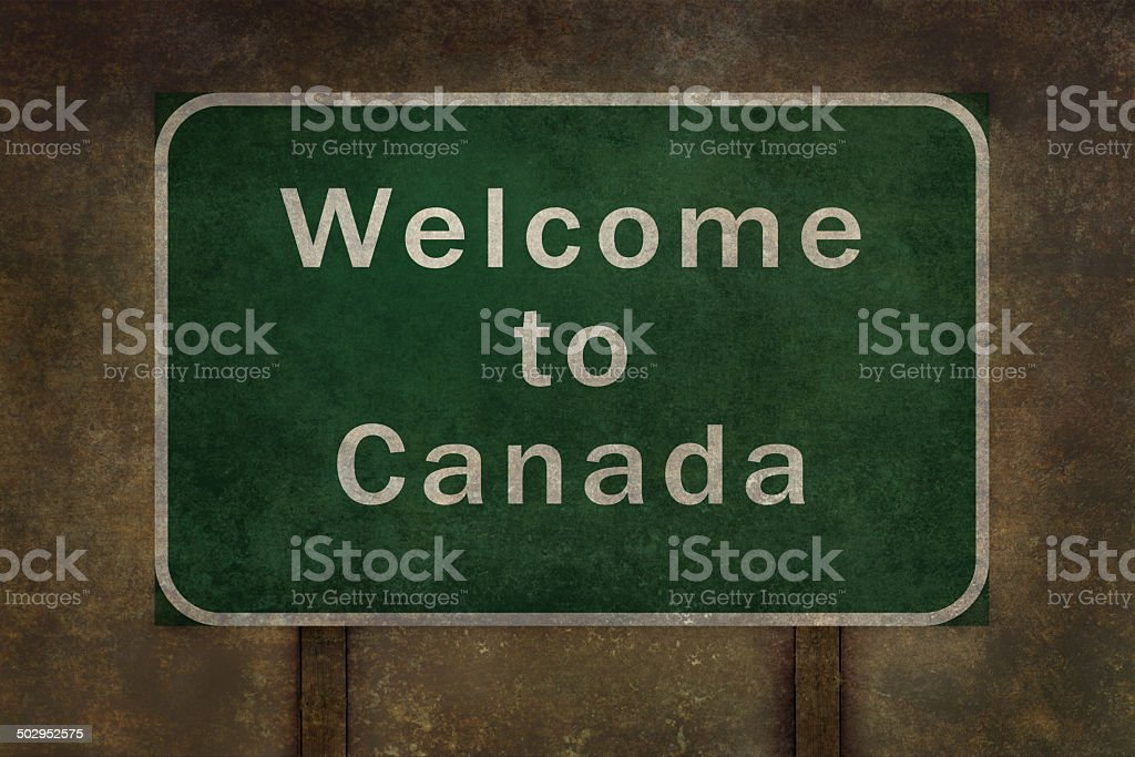 Welcome to Canada highway road side sign stock photo