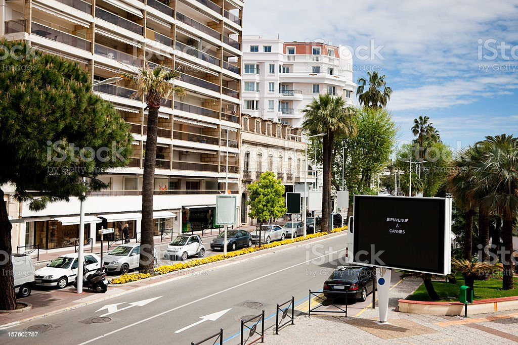 Bienvenue a Cannes Croisette Cote d'Azur French Riviera France stock photo