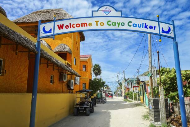 Welcome to Caye Caulker Greeting Sign on Belize Caribbean Island stock photo