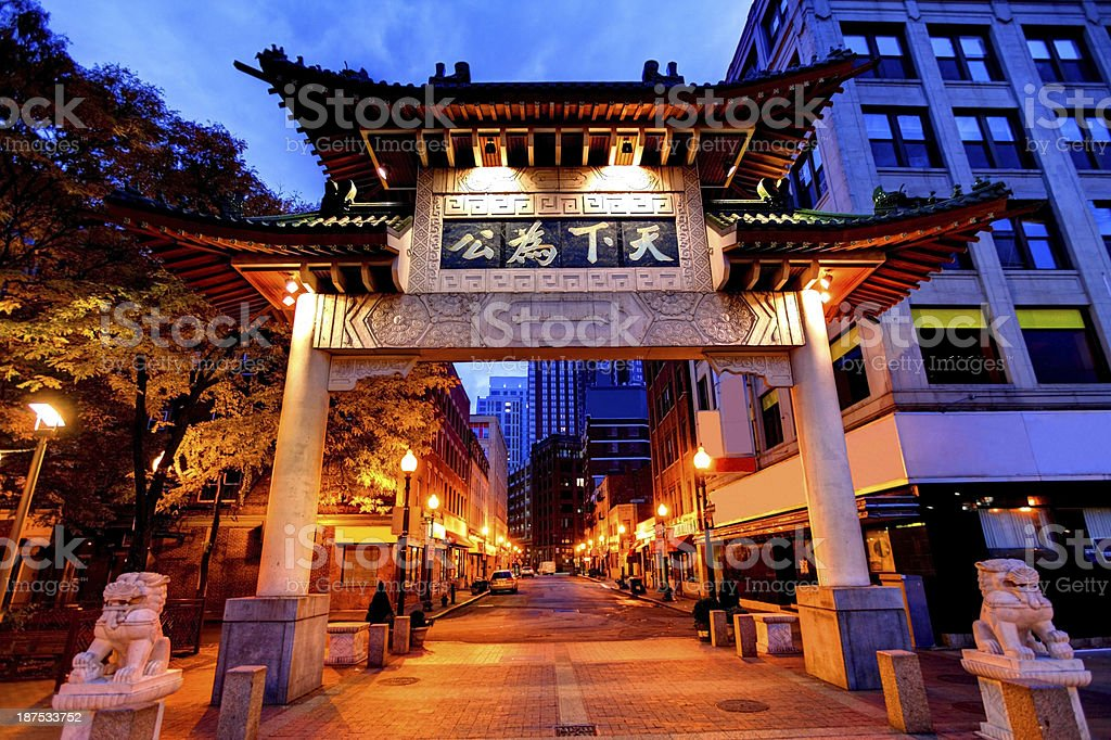 Welcome to Chinatown in Boston stock photo