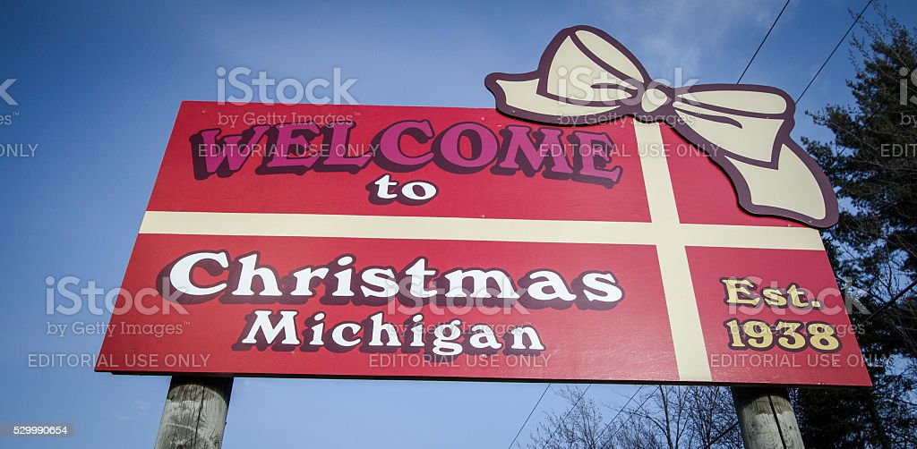Welcome To Christmas.Welcome To Christmas Michigan Stock Photo Download Image