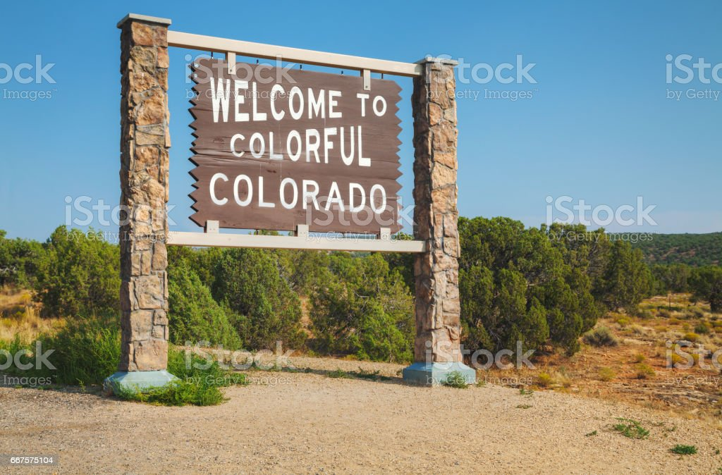 Welcome to Colorado road sign stock photo