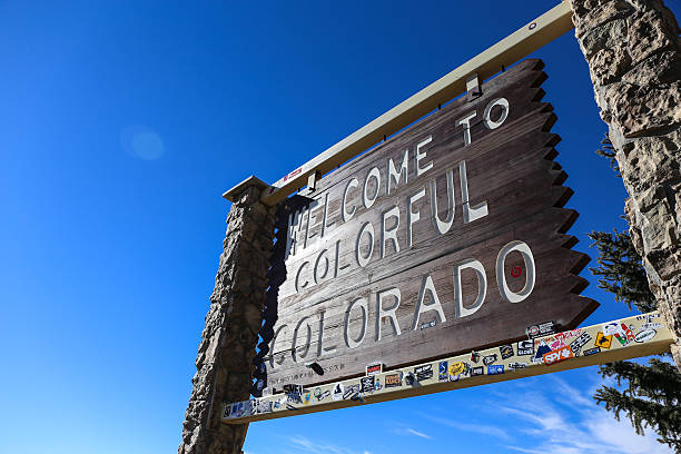 Welcome to Colorful Colorado sign stock photo