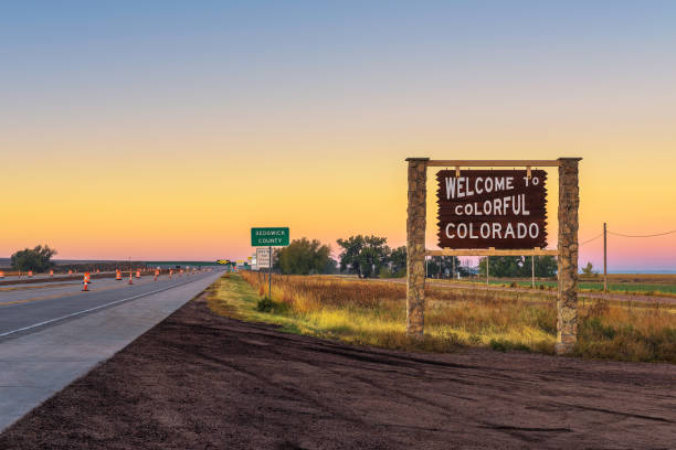 Welcome to colorful Colorado street sign along Interstate I-76 stock photo